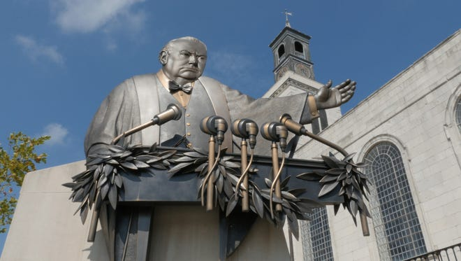 """Winston Churchill delivered his famous """"Iron Curtain"""" speech at the Westminster College in Fulton, Mo."""