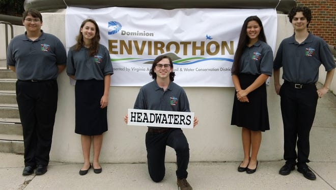 "Fort Defiance 2017 Envirothon team members from left to right: Michael Reefe, Claudette ""CJ"" Johnson, Jacob Lam, Louisa Esteban, and Dillon Rusmisel."