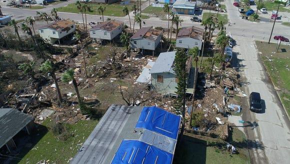 Aerial view of Hurricane Harvey damage in Port Aransas,