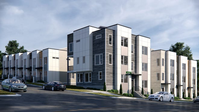 A rendering of the 14-unit Elevate at MedWest town home community.