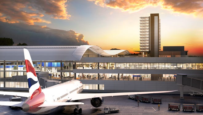A rendering shows a renovated and expanded Nashville International Airport.