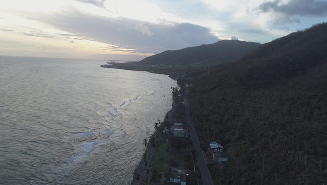 The coastline in the town of Maunabo in Puerto Rico, as seen by drone, on Oct. 2, 2017.