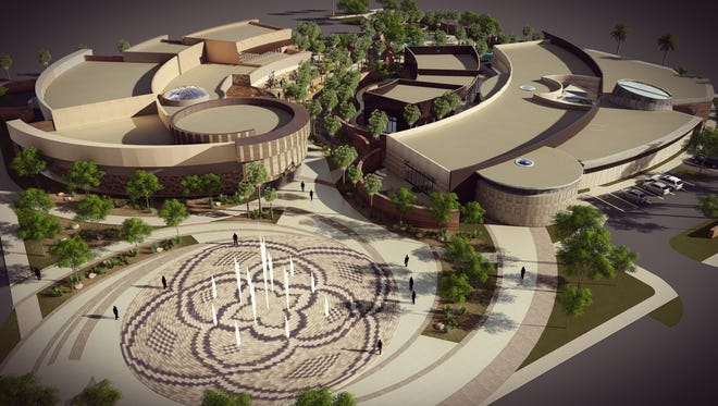 A rendering of the planned Agua Caliente Cultural Museum and Spa and Bathhouse