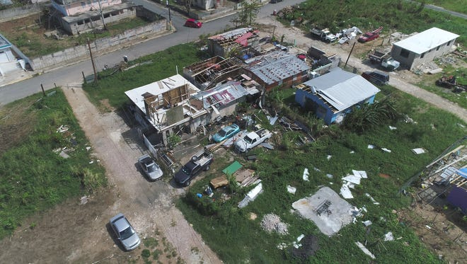 The coastal surge from Hurricane Maria reached up to 5 feet or more devastating the town of Toa Baja in Puerto Rico. Oct. 1, 2017.   Many homes also lost their roofs leaving forcing people to abandoned their homes.
