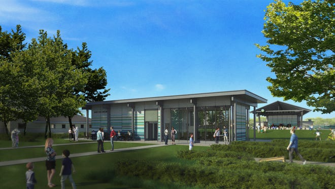 Artist's rendering of the proposed pavilion at the Nickel Plate District Amphitheater in Fishers.