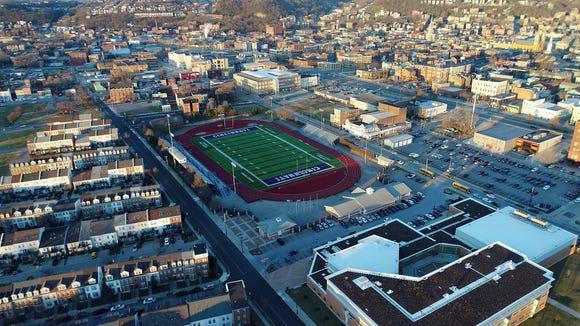 A view of Cincinnati Public School's Stargel Stadium at Taft High School in the West End neighborhood of Cincinnati on Tuesday, Jan. 30, 2018. Stargel Stadium is one of the locations being looked at for FC Cincinnati's potential stadium.