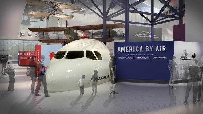 America by Air explores the history of air transportation in America and the ways that improvements in technology have revolutionized air travel. This rendering shows a revamped approach to the museum's commercial aviation gallery.