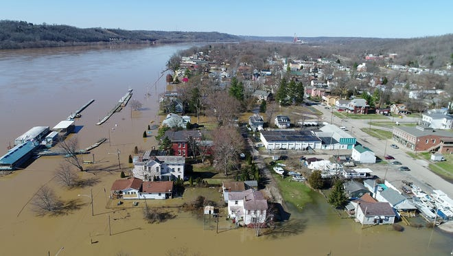 Drone footage of Ohio River flooding in New Richmond, Ohio, on Monday, Feb. 26, 2018. (Sam Greene & Michael McCarter/The Enquirer)