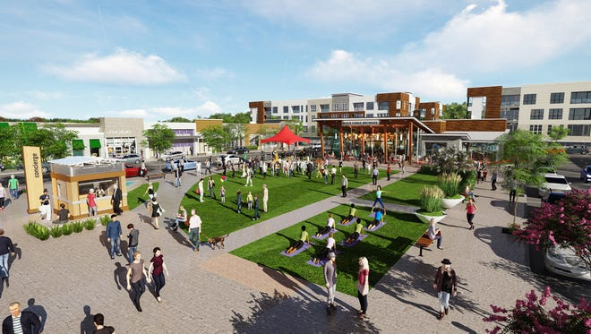 The planned Five & Main development in Commerce Township will include community gathering space in addition to retail stores, restaurants, entertainment venues and apartments.