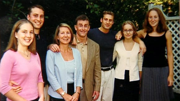 Michael Peterson's family (from left to right): Caitlin Atwater, Clayton Peterson, Kathleen Peterson, Michael Peterson, Todd Peterson, Martha Ratliff, Margaret (Ratliff) Blakemore