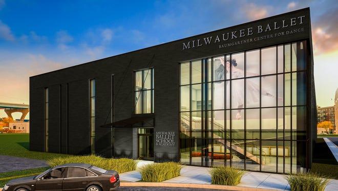 An artist's rendering of the Milwaukee Ballet's planned  Baumgartner Center for Dance at 132 N. Jackson St.