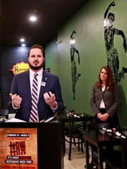 Silas Chamberlin, of Downtown Inc, speaks during a news conference promoting the eighth annual Restaurant Week at Hamir's Indian Fusion in York City, Thursday, Feb. 1, 2018. Restaurant Week runs Feb. 24-March 3 and includes specials at 34 participating York restaurants. Downtown Inc is the event sponsor. Dawn J. Sagert photo
