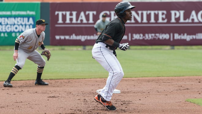 Delmarva Shorebirds' Cedric Mullins leading off second base during a game against the West Virginia Power on Wednesday, May 18, 2016.