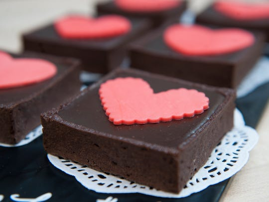 Valentine's Day-themed chocolate tarts are displayed at Dulce Artisanal Pastry in Collingswood.