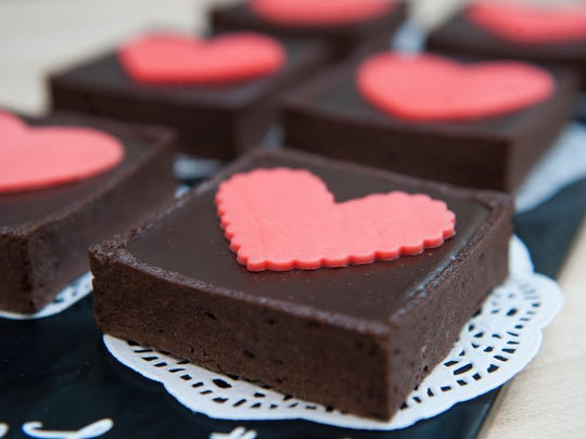 Valentine's Day themed chocolate tarts are displayed at Dulce Artisanal Pastry in Collingswood.