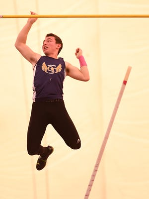 NJSIAA Boys State Indoor Track and Field Championships at John Bennett Indoor Sports Complex in Toms River on Saturday, Feb. 25, 2017. Old Tappan's Seth Kricheff on his way to finishing first in the pole vault.