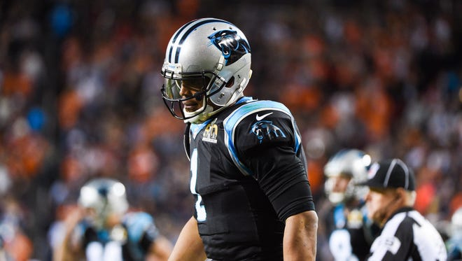 Carolina Panthers quarterback Cam Newton (1) reacts after the game against the Denver Broncos in Super Bowl 50 at Levi's Stadium. The Broncos won 24-10.