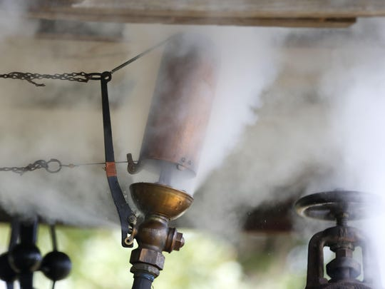 A whistle on a steam engine makes noise at Steam-O-Rama event in Republic.