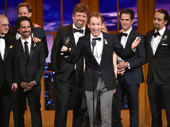 "Producer Jeffrey Seller (C) accepts the Tony award for Best Musical for ""Hamilton"" onstage with his cast and creative team during the 70th Annual Tony Awards at The Beacon Theatre on June 12, 2016 in New York City."