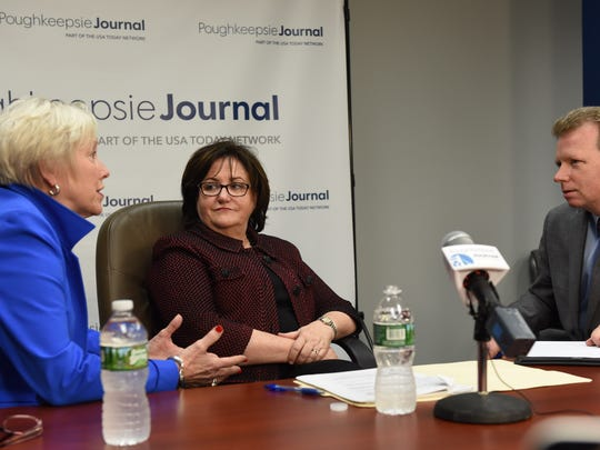 From left, SUNY Chancellor Nancy Zimpher and Commissioner of Education MaryEllen Elia speak with John Penney,  opinion page/ engagement editor at the Poughkeepsie Journal, on Tuesday.