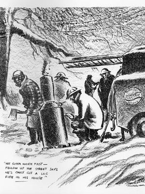 """The editorial cartoon that ran in the Feb. 2, 1951 issue of the Tennessean reads """"The Day and Night Crew Thaws Out"""" in honor of the linemen that worked around the clock and were among the heroes of the Blizzard."""