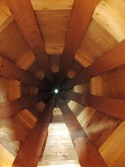 The interior of a steeple spire that will ultimately