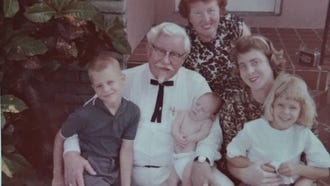 Colonel Harland Sanders poses with daughter Margaret Sanders, great-grandson John Joseph Wurster, baby Harland James Wurster, granddaughter Josephine Wurster and Cindy Wurster. Courtesy of Cindy Wurster Sjogren