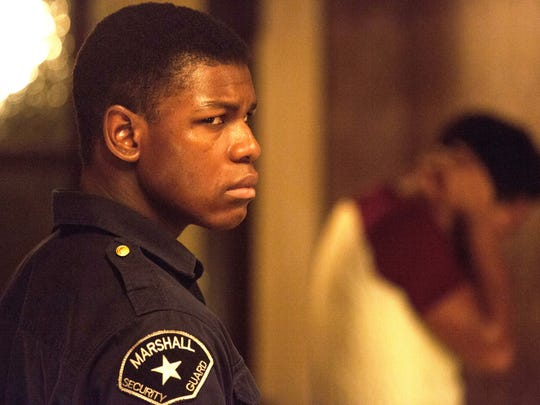 "John Boyega in a scene from the movie ""Detroit,"" a film about the 1967 Detroit riots directed by Kathryn Bigelow, which hits theaters Aug. 4, 2017."