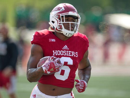 Indiana Hoosiers running back Camion Patrick (6) warms