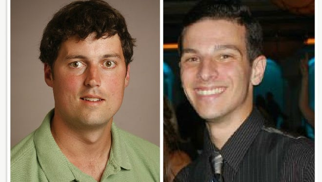 Journal News reporters Lee Higgins and Mike Zacchio, who were recognized by the Associated Press Sports Editors for their probe into basketball transcript fraud at Westchester Community College.