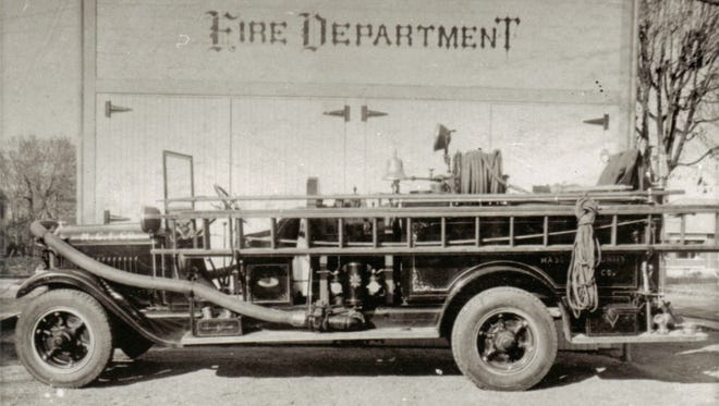 Old Betsy, Mason's 1928 firetruck, is seen in this early undated photo.  After 1956, it made appearances at festivals. Mason voted to purchase Old Betsy from a collector and restore it for bicentennial celebrations.