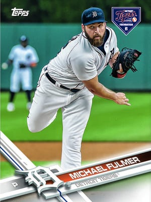 Custom Topps baseball card of Michael Fulmer created for the Autographs For a Cause program.