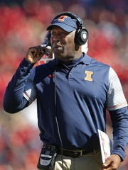Illinois' Lovie Smith was head coach of the Chicago Bears in 2004-12 and the Tampa Bay Buccaneers in 2014-15.
