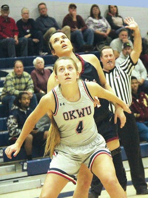 River Jefferies, No. 4, provided a strong presence for the OKWU women's basketball team. Mike Tupa/Examiner-Enterprise