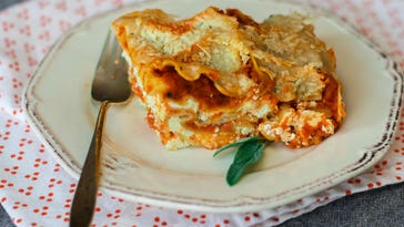 Pumpkin lasagna owes some of its richness to creamy béchamel.