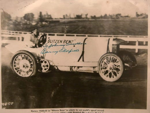 "This is in Mike Thomsen's collection of Indy 500 drivers' autographs, Friday, May 27, 2016. He has the most autographs from different Indy 500 drivers, in the world. After the green flag waves, he says will have autographs from 600 of the drivers who ever drove in the race. This photo is of Barney Oldfield in the ""Blitzen Benz"" car. Oldfield set the world's speed record of 131.75 mph in 1910, in this car.  Photo Courtesy of Kelly Wilkinson/IndyStar"