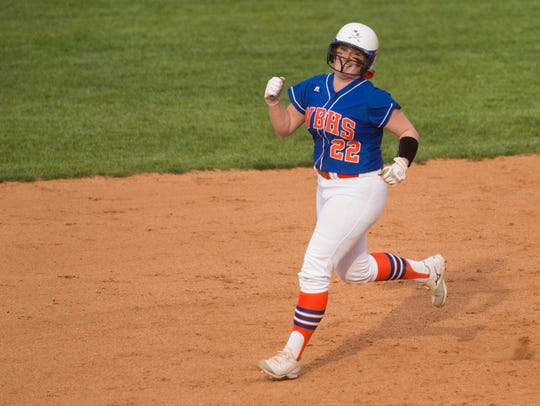 William Blount's McKenzie Henry celebrates as she rounds