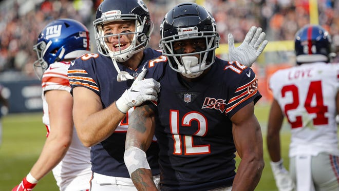Chicago Bears wide receiver Allen Robinson (12) celebrates his touchdown with Jesper Horsted against the New York Giants in Chicago on Nov. 24, 2019.