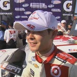 21-year old Kyle Larson from Elk Grove celebrates his first Nationwide Series victory at the Auto Club Speedway in Fontana.