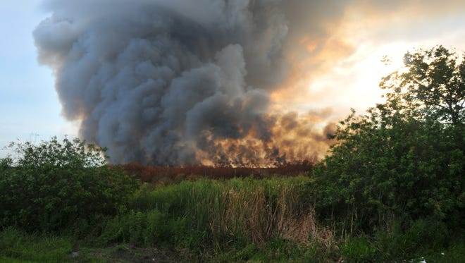 A 25-acre brush fire - similar to the one in the photo - is burning near the Orange County line near 520.