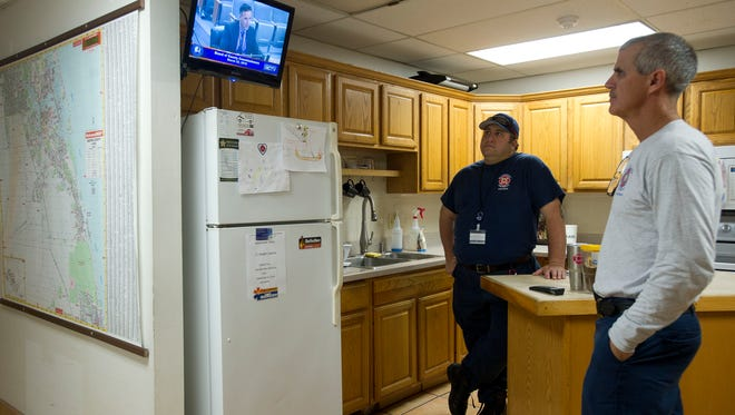 Martin County Fire Rescue workers Chris Myers, firefighter paramedic (left); and Bryan Richardson, lieutenant, inside Station 14 on Hutchinson Island. If a 1 percent county sales tax is approved by voters on Tuesday, this station might be replaced. It has a multitude of issues, including corrosion in part caused by the proximity to the ocean, county officials have said.
