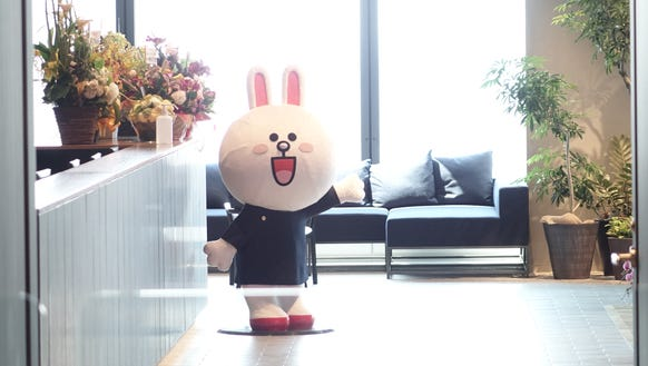 A Line character welcomes visitors to Line HQ in Tokyo.