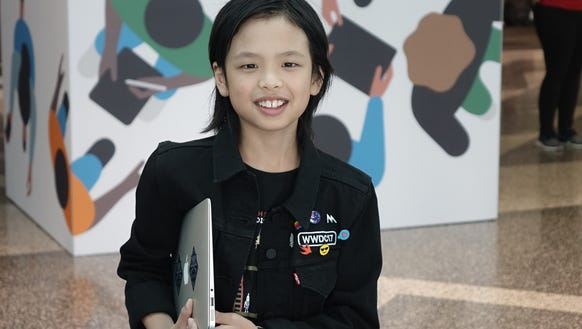 10-year-old app developer Yuma Soerianto at the Apple
