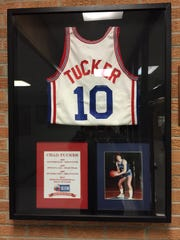 This display is hanging at the Cloverdale High School gym.