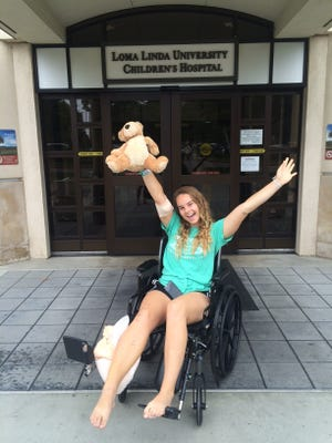 Mackenzie Cosgrove was released from Loma Linda University Children's Hospital on Saturday, May 16, 2015 after spending seven days at the hospital for treatment of a rattlesnake bite she suffered while hiking on Eisenhower Mountain on May 10, 2015.