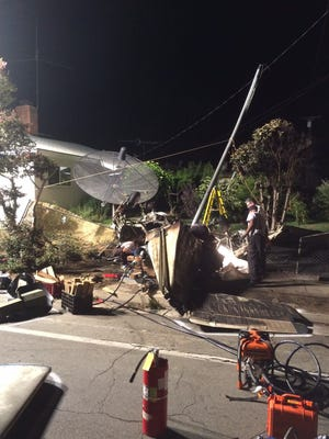 Remains of the Beechcraft F-35 that crashed on Adams Street in Riverside July 26.