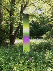 A sculpture from James Welling's Gradients installation at the Brandywine River Museum of Art. The digitally sampled colors on the metal plates, installed at nine sites around the campus, echo the rich colors around them in the area where the artist who inspired his work, Andrew Wyeth, lived and painted.