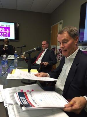 Joe Hogsett and Chuck Brewer at radio debate Oct. 30, 2015.