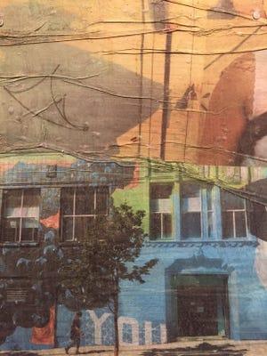 "Erik Burke's work pasted on drywall as part of the ""Work"" exhibit at NeverEnder Gallery this week."