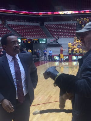 "Comedic actor and ""Saturday Night Live"" veteran Tim Meadows, left, was at Hilton Coliseum in Ames on Monday night along with ""TV Funhouse"" creator Robert Smigel to film footage for a future ""Funny or Die"" political sketch."